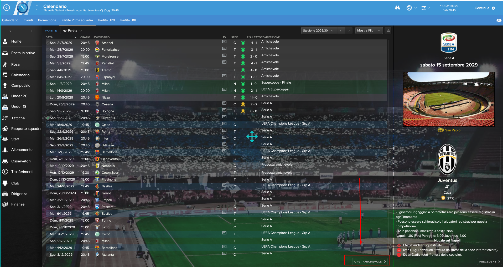 Amichevoli Football Manager