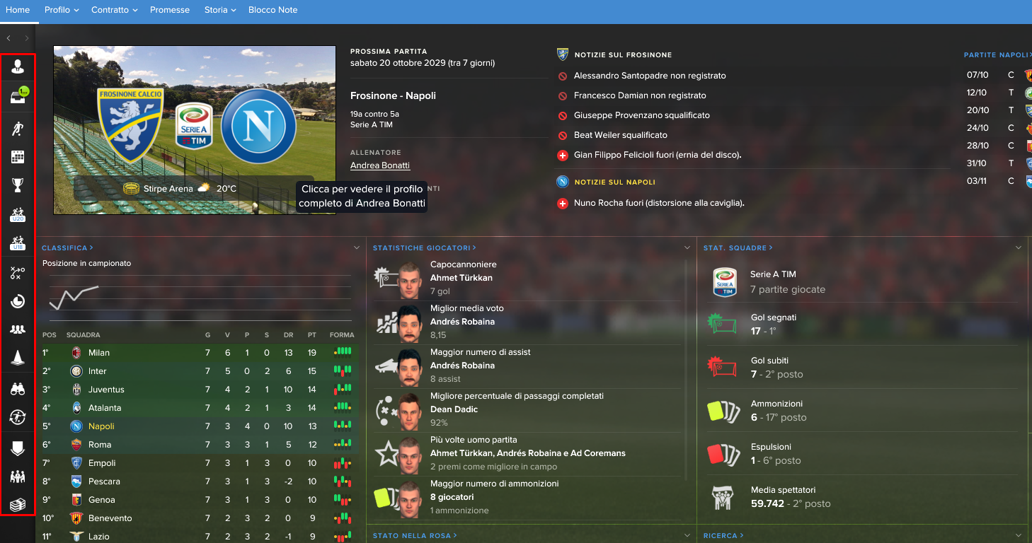 Barra laterale Football Manager