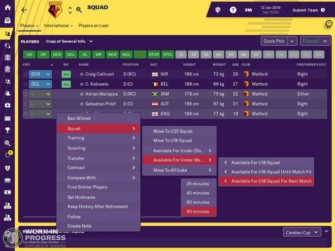 Novità Football Manager 2019 Squad