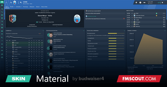 Material Skin Football Manager 2019