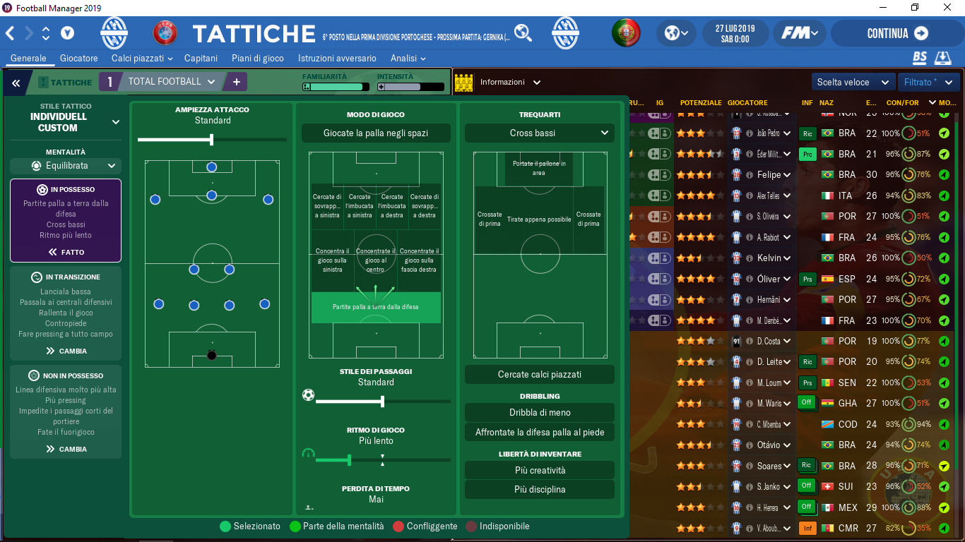 Tattica Total Football Football Manager 2019