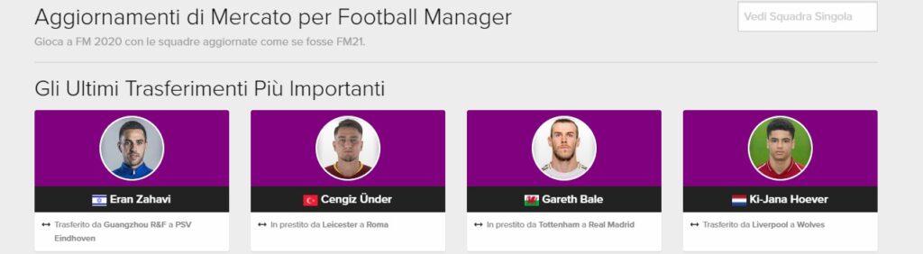 Aggiornamenti di Mercato per Football Manager