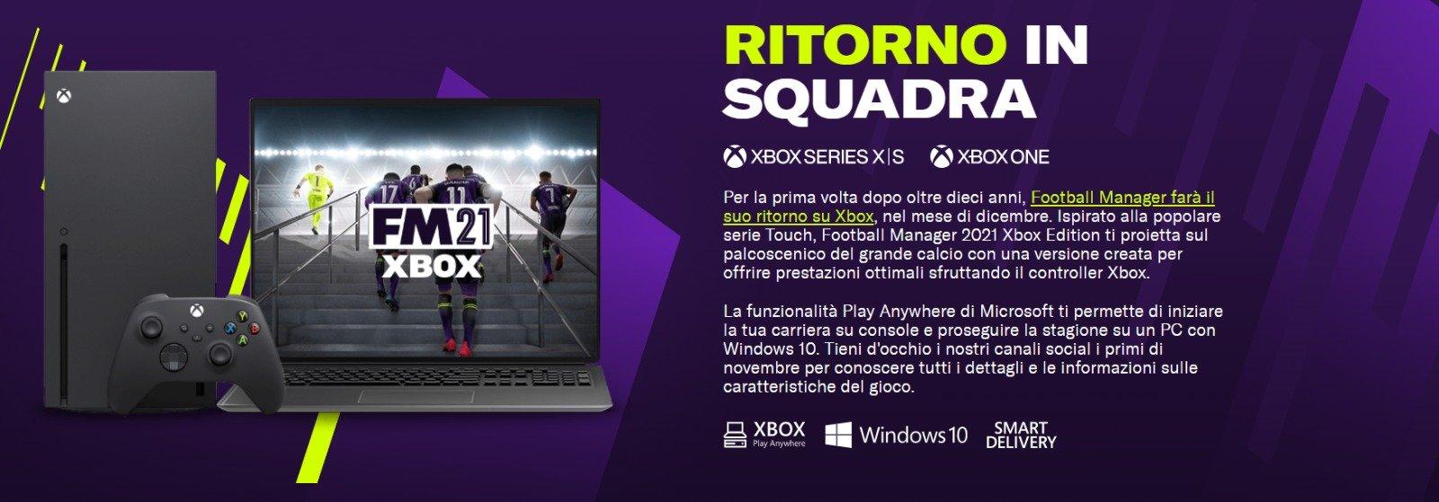 Football Manager 2021 arriva su Xbox