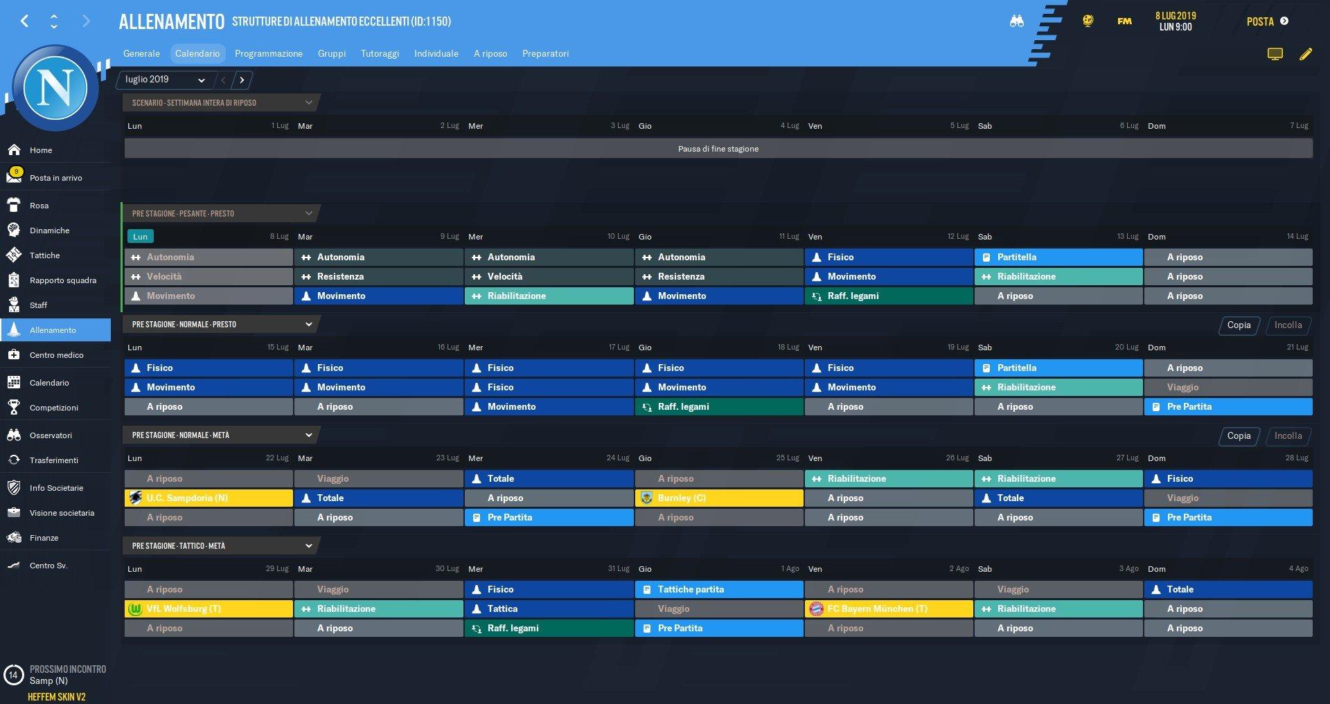 Guida allenamenti Football Manager 2020