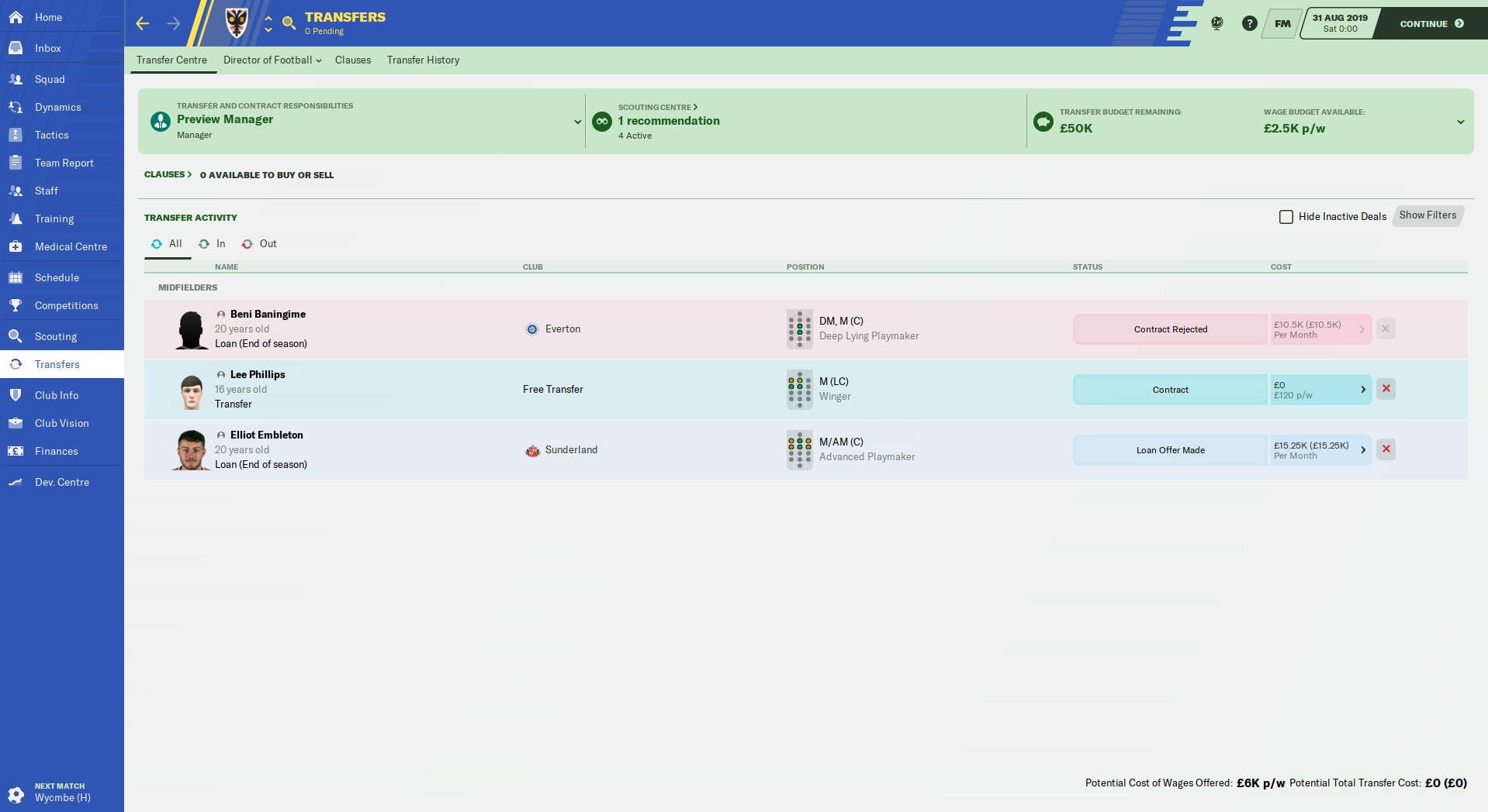 Mint Skin Football Manager 2020